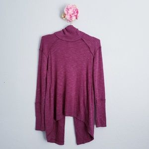 Free People Maroon Split Back Turtleneck